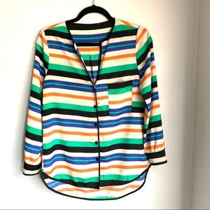 Tops - Colorful Striped Button Front Blouse